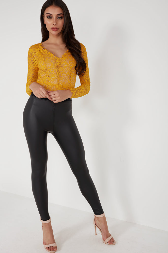 Lolli Mustard Long Sleeve Lace Bodysuit