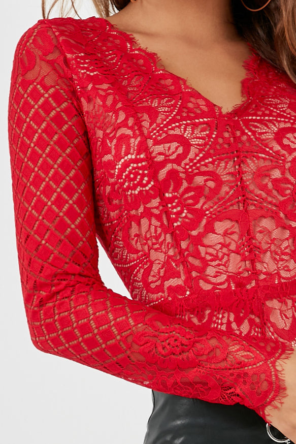 Lolli Red Long Sleeve Lace Bodysuit