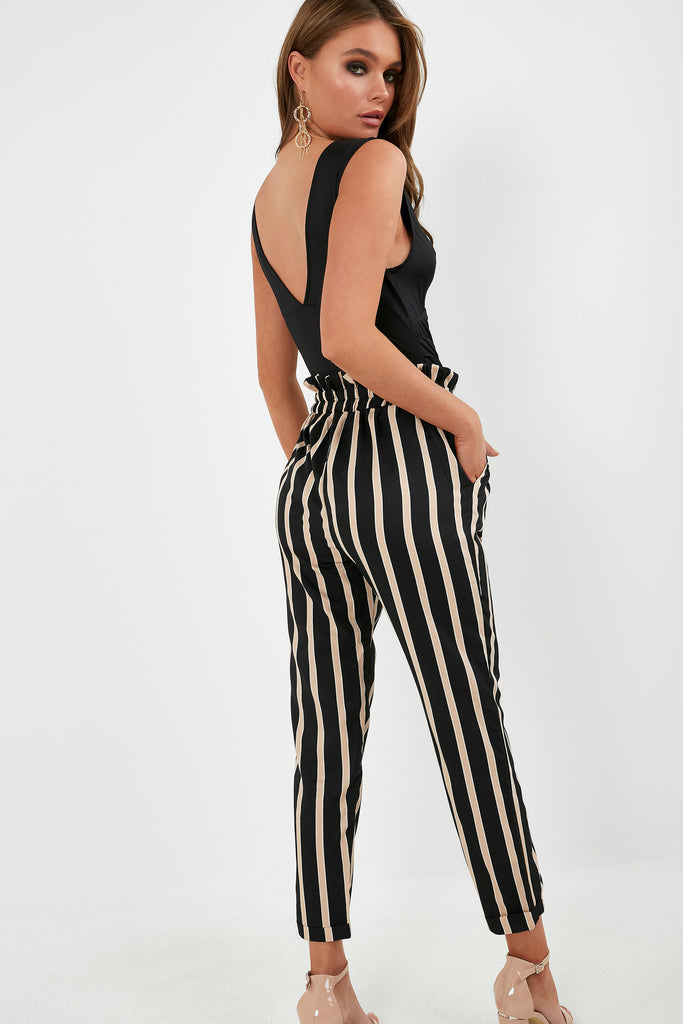 Lollie Black and Stone Striped Trousers