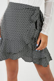 Loretta Black Heart Print Wrap Skirt