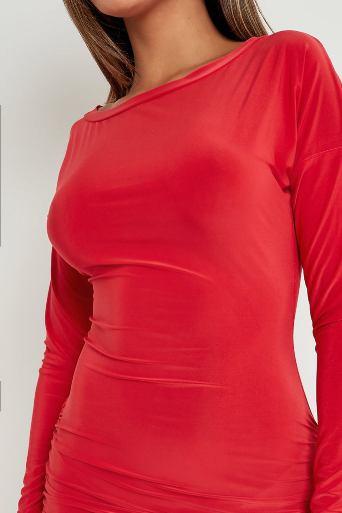 Lorraine Red Long Sleeve Ruched Slinky Dress
