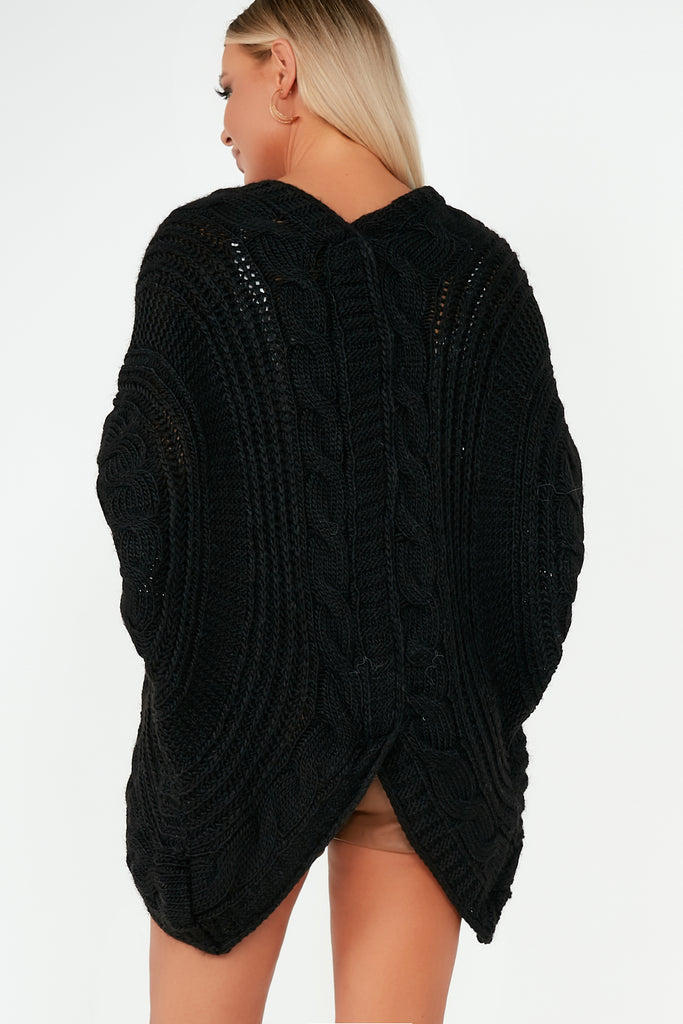 Lottie Black Cable Knit Batwing Cardigan