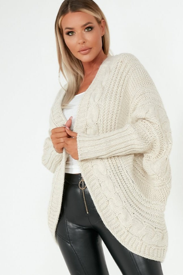 Lottie Oatmeal Cable Knit Batwing Cardigan