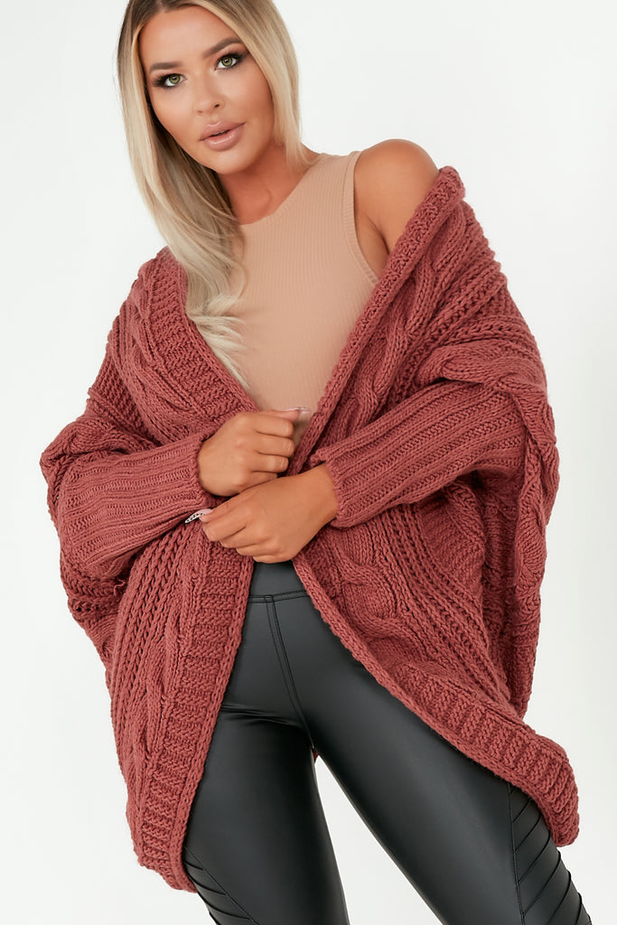 Lottie Rust Cable Knit Batwing Cardigan