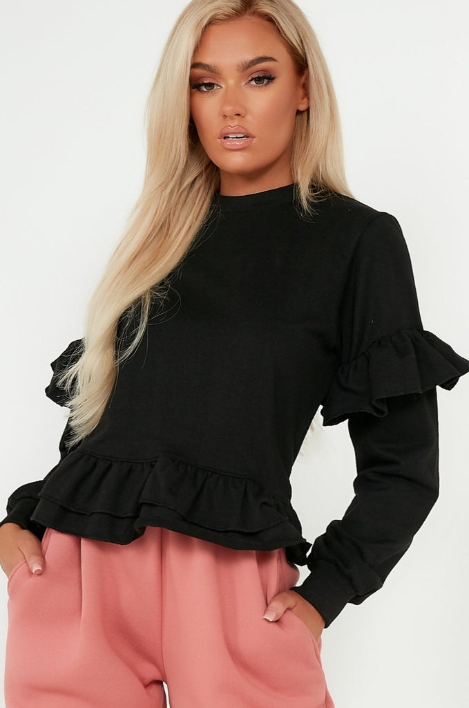 Lou Black Frill Detail Sweater