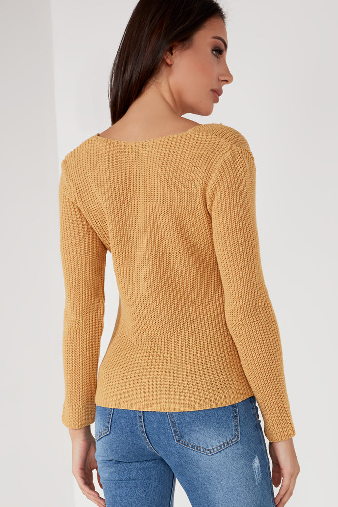 Lucinda Tan Twist Front Knit Jumper