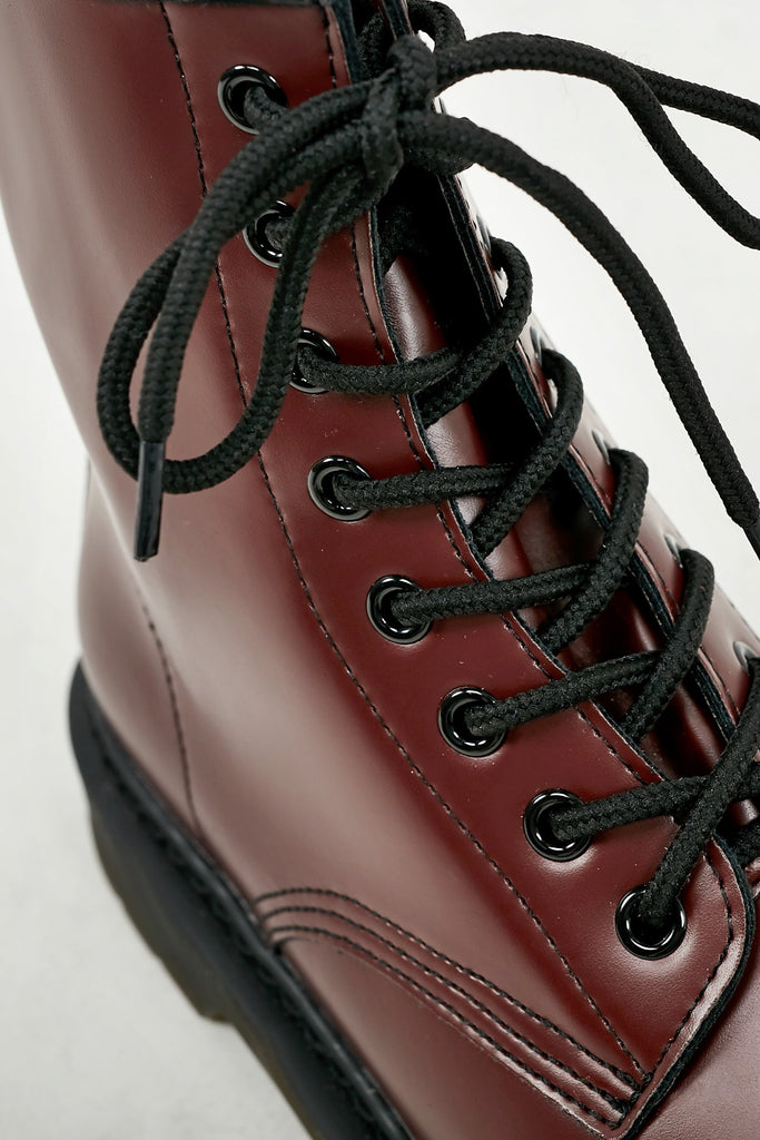 Luella Burgundy Matte Chunky Lace Up Boots (1987349119042)