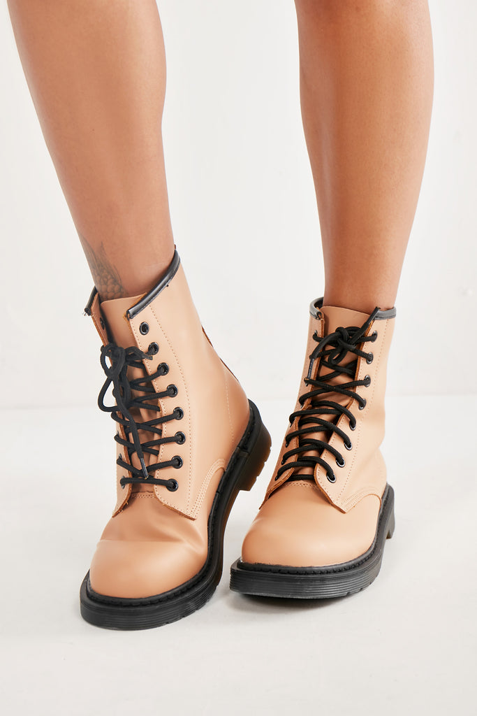 Luella Tan Matte Chunky Lace Up Boots (1987349676098)