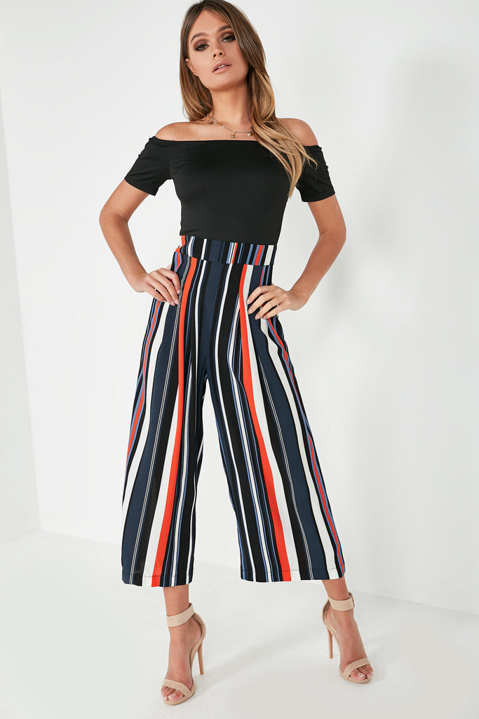 a20520bc57a Lulu Multi Striped Bardot Jumpsuit