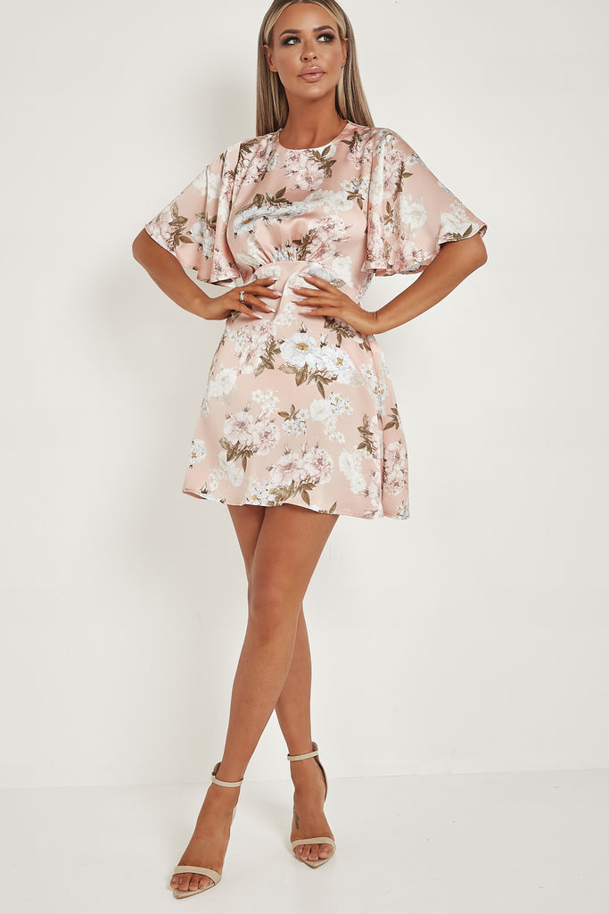 Luna Pink Floral Satin Wide Sleeve Dress