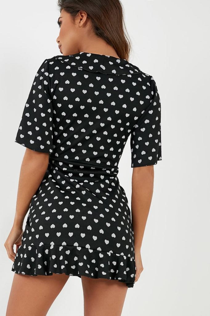 Lydia Black Heart Print Frill Dress (4259504586818)