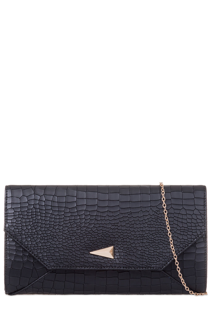 Mabel Black Crocodile Print Clutch