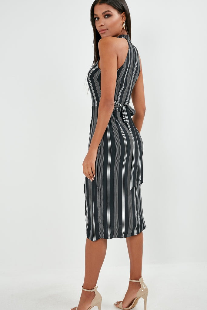 Mabel Black Striped Racer Midi Dress