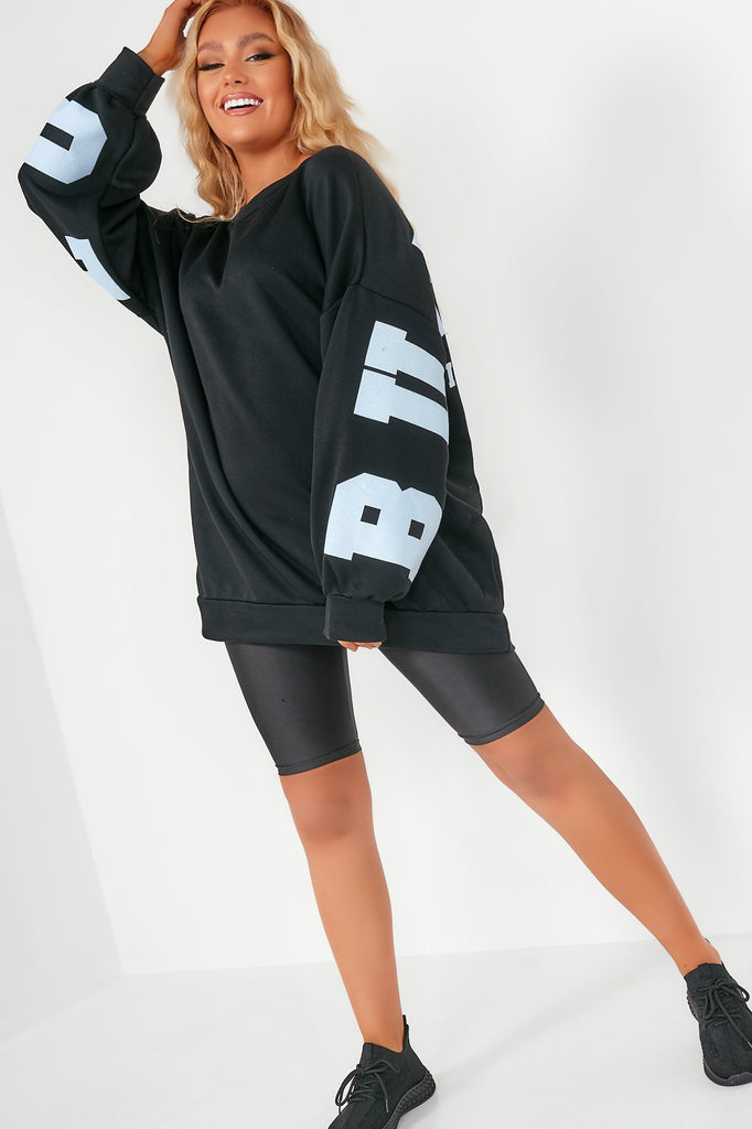 Macey Black Buffalo Oversized Sweatshirt