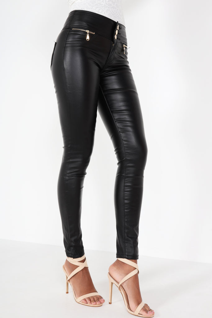 Madison Black High Waisted Wax Trousers