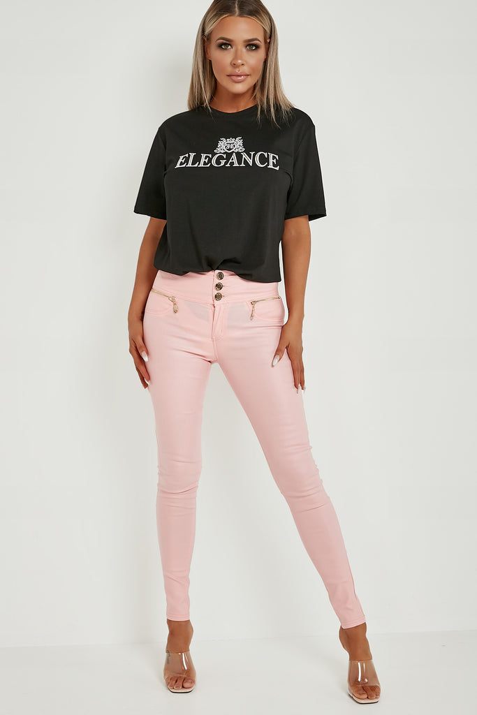 Madison Pink High Waisted Wax Trousers