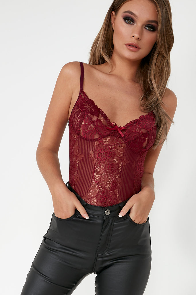 Maeve Plum Sheer Lace Bodysuit