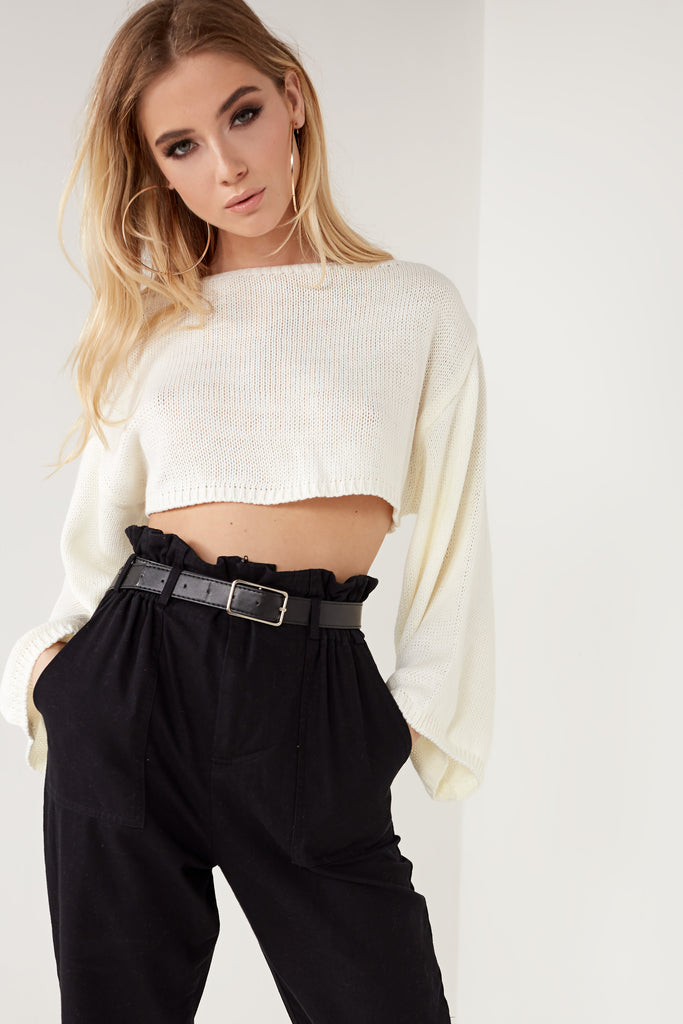 Maggie Cream Knit Crop Jumper