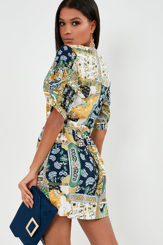 Maise Green Mixed Print Tie Belt Dress