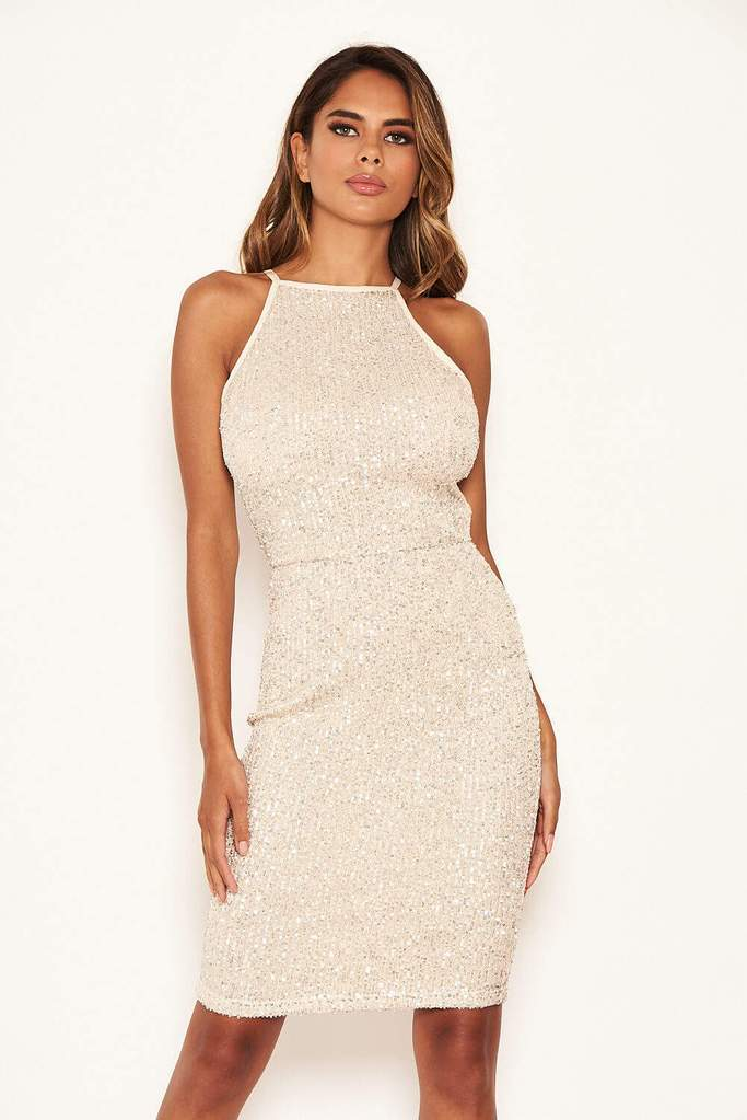 Mallie Champagne Sequin Midi Dress