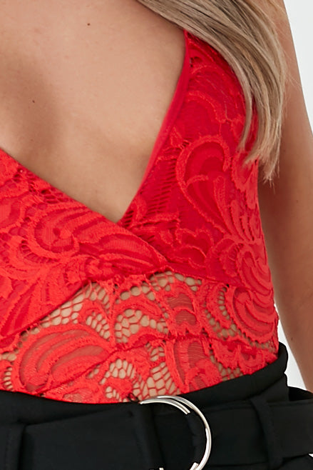 Mally Red Lace Cami Bodysuit (1698649604162)