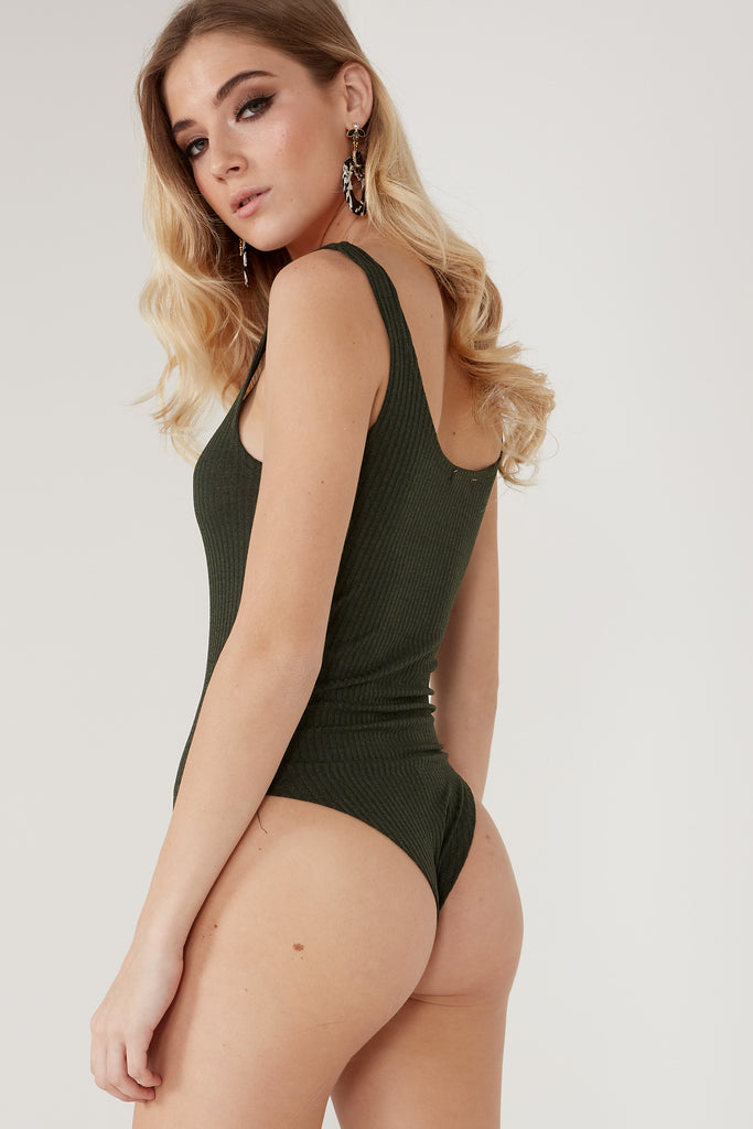 Manda Green Ribbed Bodysuit