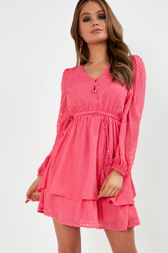 Marcie Pink Chevron Tiered Dress