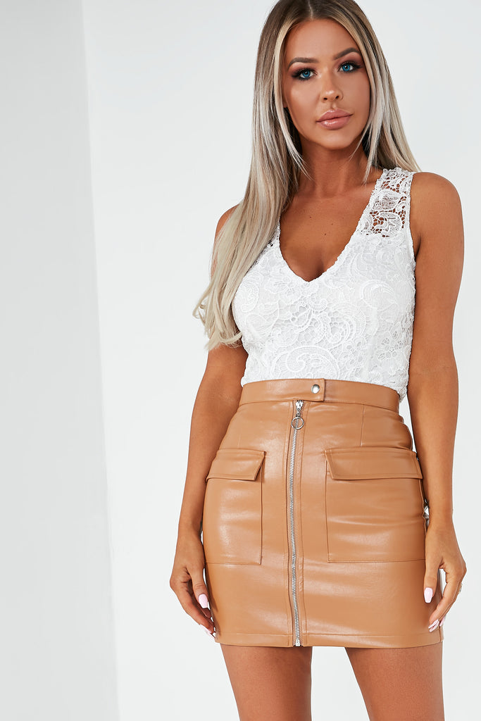 Marge Tan Pu Zip Front Mini Skirt (1741599539266)