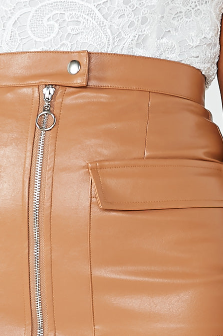 Marge Tan Pu Zip Front Mini Skirt