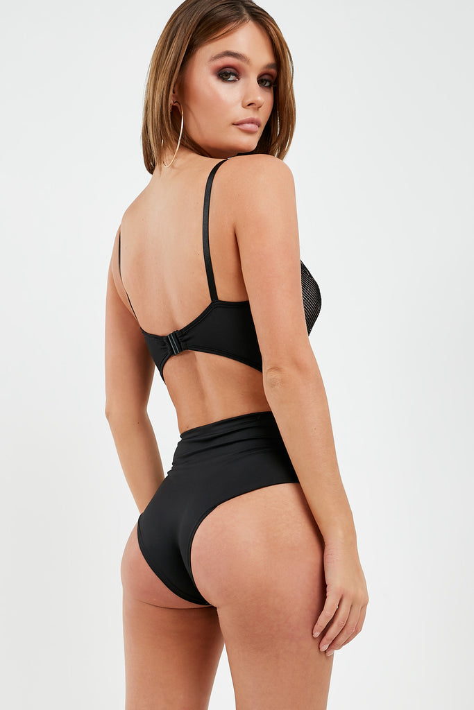 Margie Black Lace Cut Out Back Bodysuit