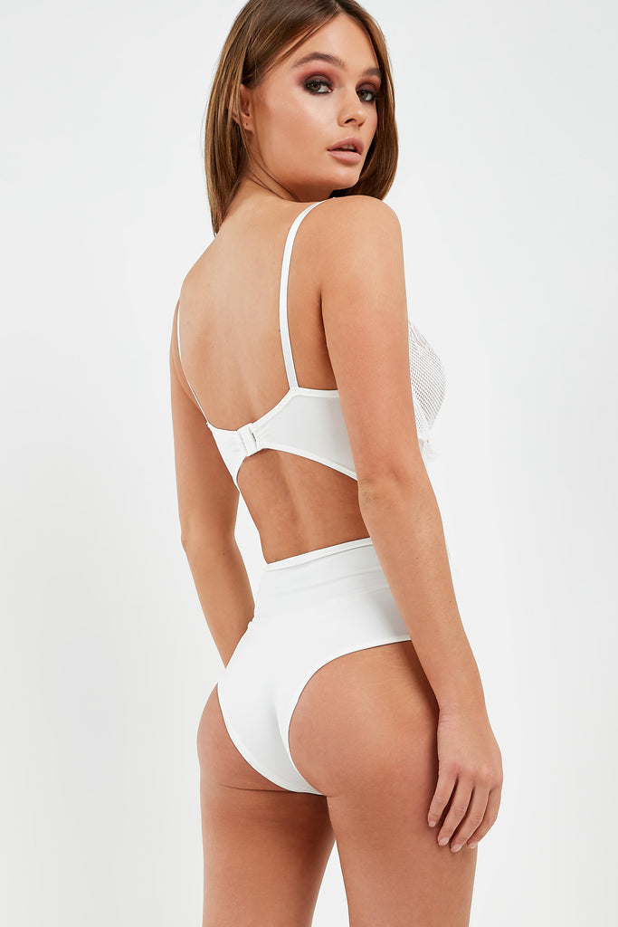 Margie White Lace Cut Out Back Bodysuit