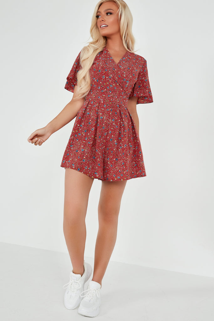 Maria Rust Ditsy Print Playsuit