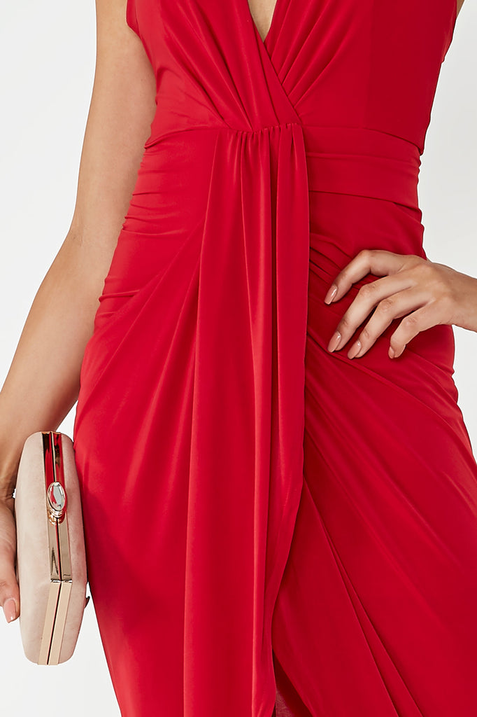 Mariann Red Draped Slinky Midi Dress