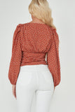 Marilyn Rust Polka Dot Puff Sleeve Top