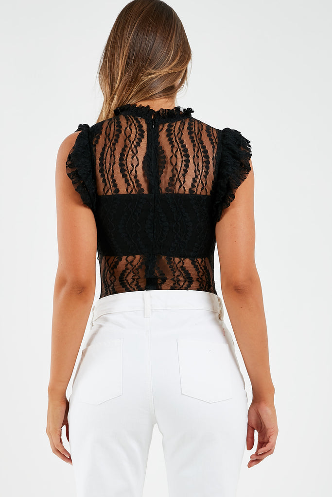 Marion Black Lace High Neck Bodysuit