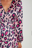 Marnie Pink Abstract Print Wrap Dress