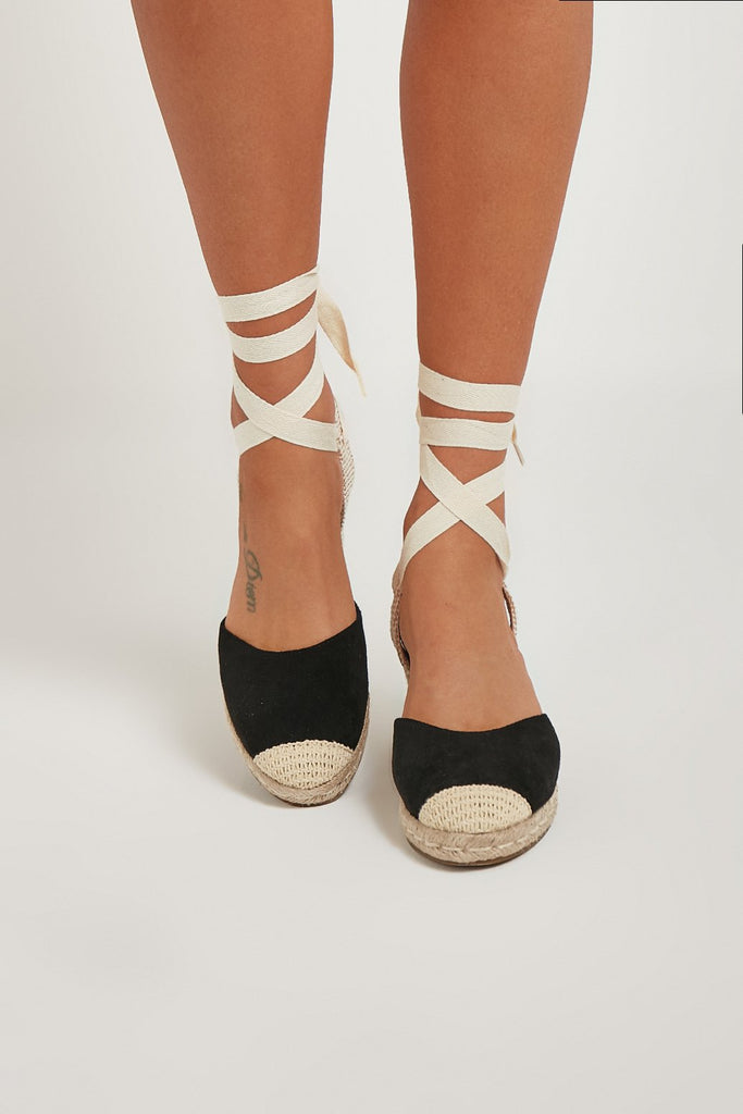 Martisha Black Tie Leg Espadrille Wedges
