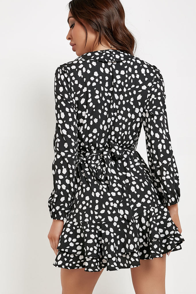Marty Black & White Splodge Print Dress