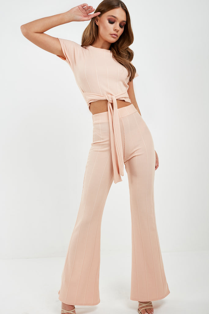 Mary Nude Ribbed Trouser Co Ord