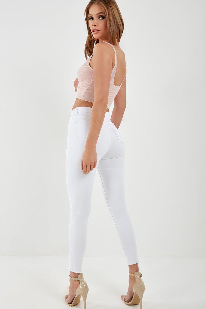 Matilda White High Waisted Skinny Jeans