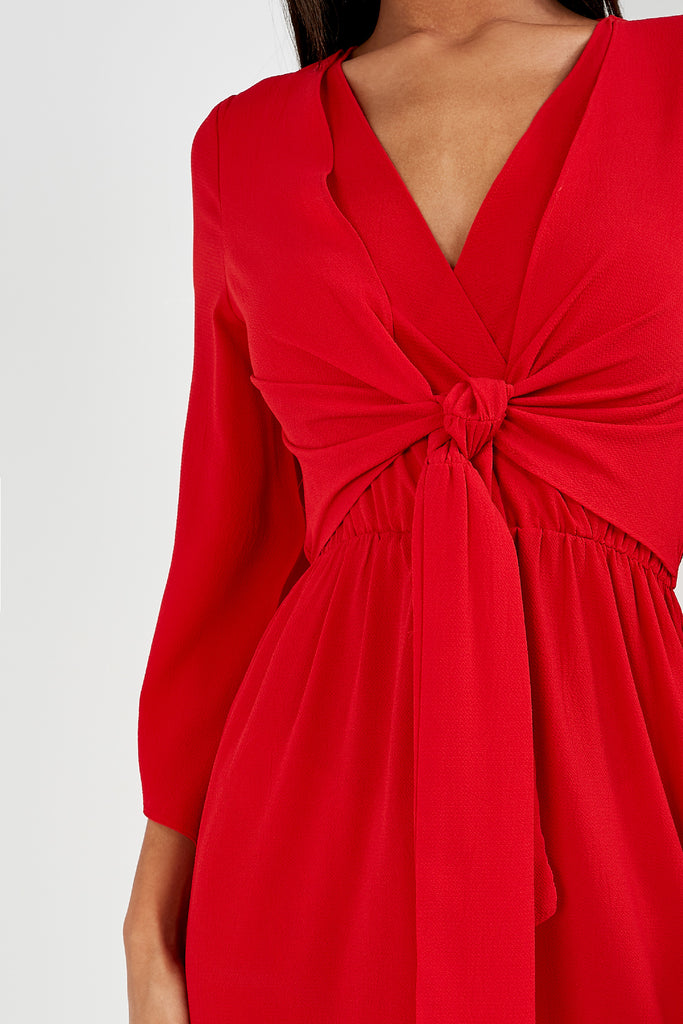 Maura Red Tie Front Midi Dress