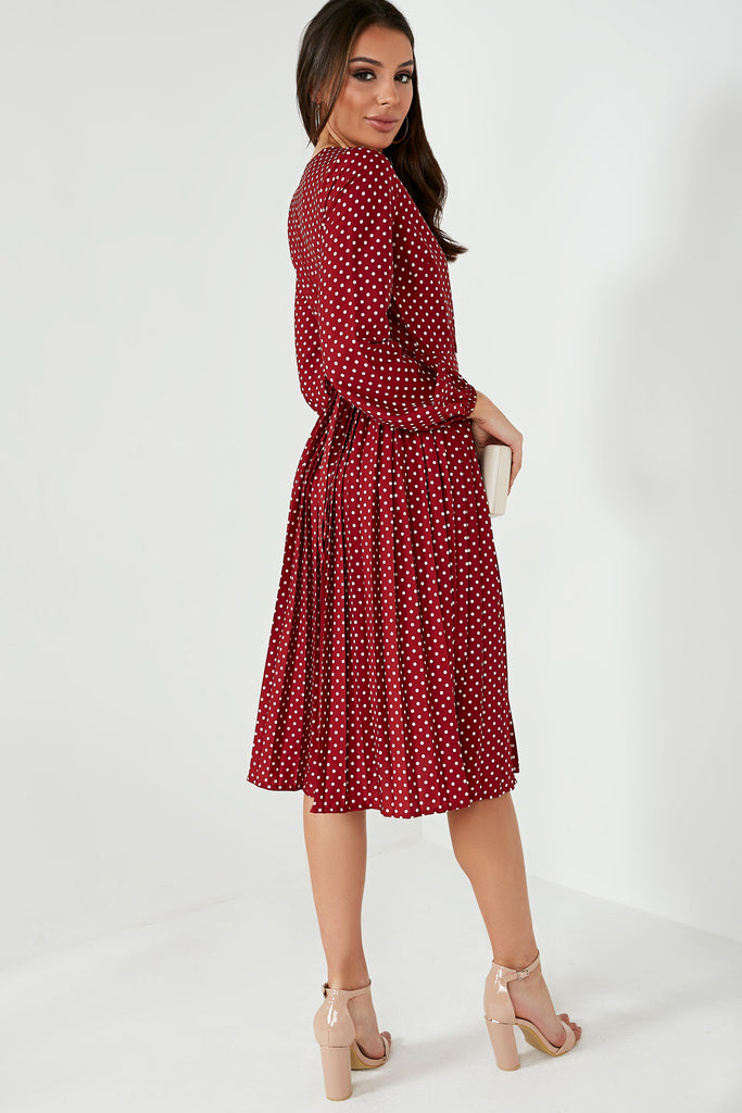 Maureen Burgundy Polka Dot Pleat Midi Dress