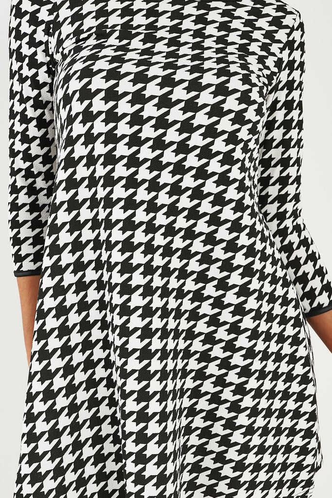 May Mono Houndstooth Smock Dress