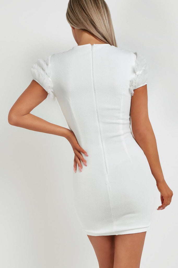 Maya Cream Ruffle Mesh Sleeve Bodycon Dress
