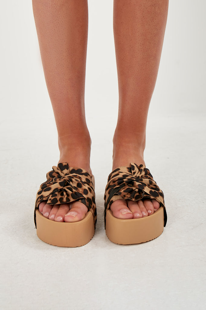 Meg Leopard Print Wedged Sandals