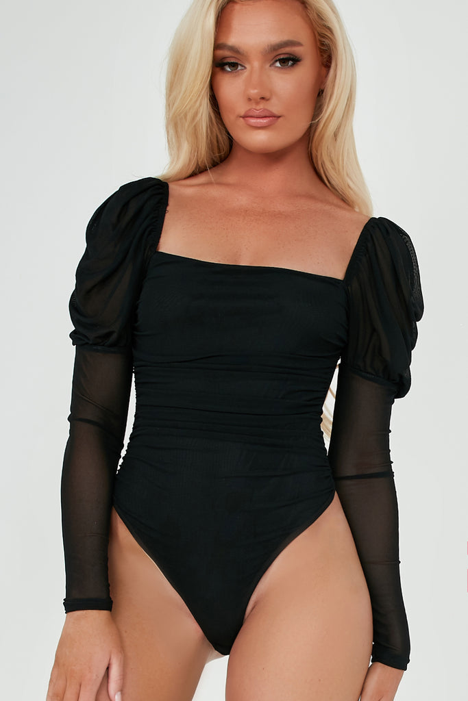 Megan Black Square Neck Ruched Bodysuit
