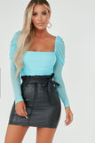 Megan Blue Square Neck Ruched Bodysuit