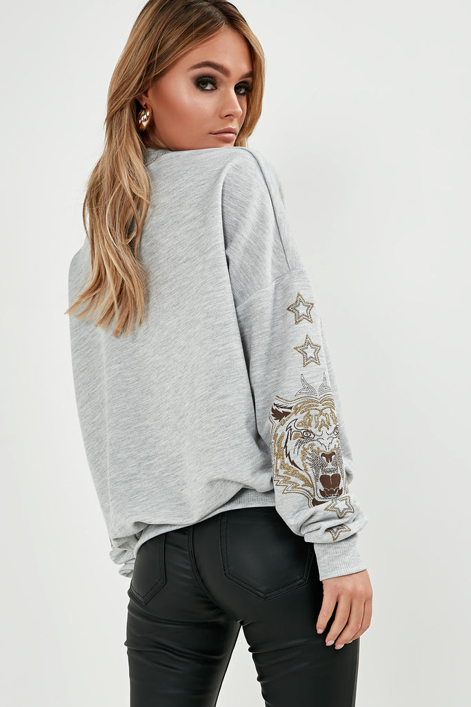 Megan Grey Glitter Tiger Sweatshirt