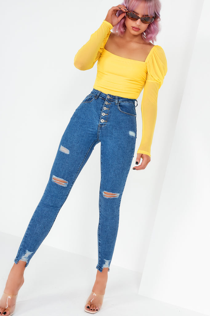 Megan Yellow Square Neck Ruched Bodysuit