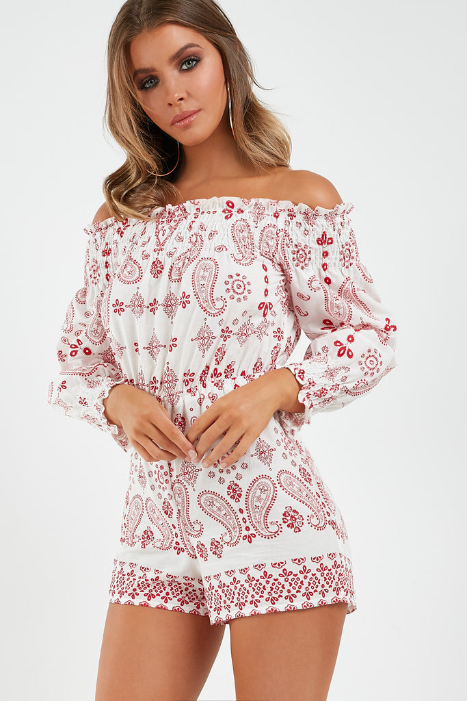81fc5cabbb1d Melanie White and Red Paisley Playsuit | Vavavoom.ie